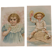 2 Lion Coffee Picture Cards Victorian Advertising Trade Cards Playing in Sand at the Beach