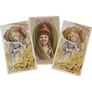 3 Victorian Piano Trade Cards Wheelock and Emerson with Little Girls
