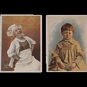 2 Soapine Victorian Trade Cards Happy Chef and Sad Child