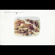 1910 Haynes Photo Vignette Postcard Mammoth Hot Springs Yellowstone Park