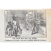 1881 Minnesota Linseed Oil Co Liquid Paint Victorian Trade Card with Store Front The Old Way And The New