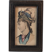 Lady Lithograph in Leather Frame Victorian Edwardian