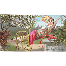 Day's Soap Chromolithograph Victorian Trade Card Lady in Hammock - Red Tag Sale Item