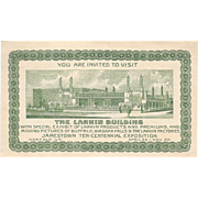 1907 Jamestown Ter-Centennial Exposition Ticket to the Larkin Building Exhibit Tercentennial