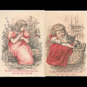 Girl with Cat & Bird Nine O'Clock Washing Tea Victorian Trade Cards