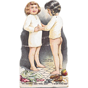 Swift Wool Soap Stand Up Trade Card Victorian Advertising Die Cut