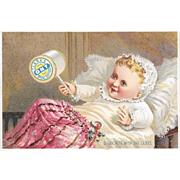 Baby and Rattle Victorian Trade Card for Clark's ONT Thread A Favorite with the Ladies O.N.T.