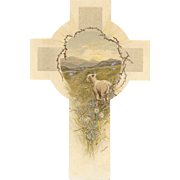 Raphael Tuck & Sons Easter Cross Shaped Card with Lamb