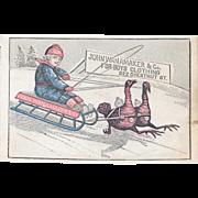 Turkeys Pulling a Sled Victorian Trade Card from John Wanamaker & Co