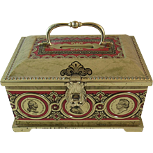 English Blue Bird Confectionary Treasure Chest Tin with Handle with American Founding Fathers