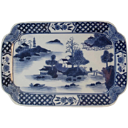 Antique Canton Platter Tray Ware Blue and White Chinese Export