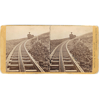 Lizzie Bourne's Monument by Railway on Mt. Washington, New Hampshire Stereoview Card Railroad