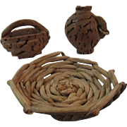 Carved Walnut Shell Miniatures Baskets & Jug Folk Art Dollhouse