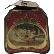 Victorian Litho Cats Dogs Birds and Children Biscuit Tin - Our Happy Days
