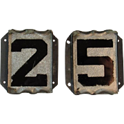 Art Deco Reverse Painted on Glass House Numbers 2 5 25