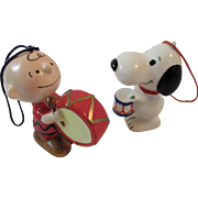 Snoopy & Charlie Brown with Drums Christmas Ornaments United Feature Syndicate Japan 1950s 1960s