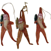 Clay Face Santa Chenille Christmas Ornaments - Group of 3 Vintage