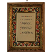 Your Baby Girl Poem in Florentine Frame Made in Italy