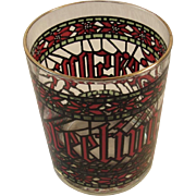 Houze Season's Greetings Christmas Stained Glass Bar Glass Tumbler Rocks Glasses Vintage Gold Rimmed