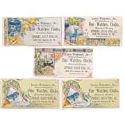 5 Victorian Watches and Clocks Trade Cards Louis Wetzell Jr of Washington DC Musical Boxes Jewelry Fancy Fans