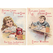 2 Rutland Stove Lining Victorian Trade Cards Early Wisdom