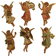 6 Angel Christmas Ornaments by B. Shackman Die Cut Die-Cut