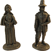 Plymouth Pewter Miniatures Priscilla and John Alden Pilgrims Figurines Mayflower