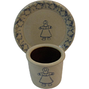 Miniature Salt Glazed Crock and Matching Plate Gingerbread Lady Cookie Motif Blue Decorated Stoneware Dollhouse