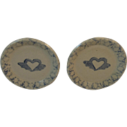 Miniature Salt Glazed Plates Hearts with Wings Motif Blue Decorated Stoneware Dollhouse