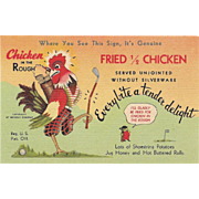 1940s Chicken in the Rough Postcard M.D's Modern Cabins New Market, Virginia VA