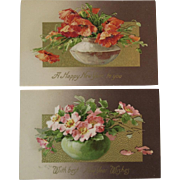 2 German Embossed New Years Day Postcards with Poppies Flower Arrangements Germany