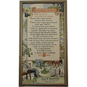 1930s Little Town Motto Poem Print in Frame Advertising for Jennie B. Smith & Sons Store in Cocolamus, PA Small Town