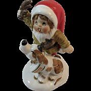 Napco Christmas Elf and Dog named Dancer with Reindeer Antlers Vintage Napcoware Japan