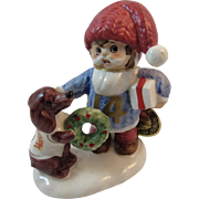 Napco Christmas Elf and Dog named Dasher for the Reindeer Vintage Napcoware Japan