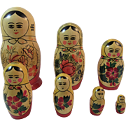 7 USSR Russian Nesting Dolls with Original Paper Label Russia Soviet Union Folk Art