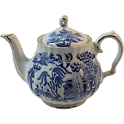 Sadler Blue Willow Teapot Tea Pot England Gold Decorated Signed