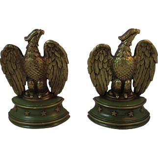 American Eagle Cast Iron Bookends by Sexton Gold and Green Paint Book Ends 1940s era Patriotic
