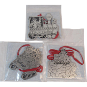 Tony the Tiger Pewter Christmas Ornaments from Kellogg's Advertising Cereal Characters Kelloggs Train Sled and Pennsylvania Map