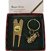 Golf Set Brass & Enamel Divot Tool and Keychain Shaped like Bag with Clubs