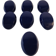 7 Blue Glass Oval Buttons Art Deco Shape
