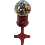 Miniature Gum Ball Machine Dollhouse Cast Metal Red Bubble Gumball