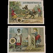 2 J & P Coats Thread Black Americana Ad Trade Cards Sewing