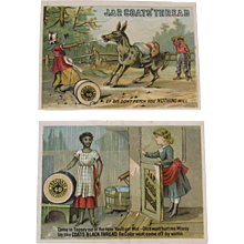 2 J & P Coats Thread Black Americana Ad Trade Cards Sewing