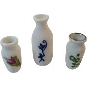 3 Miniature Porcelain Vases Dollhouse Miniatures