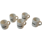 Dollhouse Miniature Coffee Mugs with Names on Them Personalized