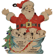 Mechanical Santa and Puppies Christmas Card Vintage Gibson Puppy Dogs