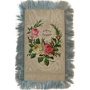 Victorian Silk Fringed Embossed Christmas Card with Cabbage Roses