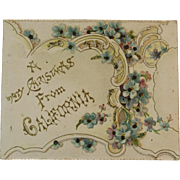 Victorian Die Cut Merry Christmas from California Card with Photo of Castle Rock Point Inside Unused