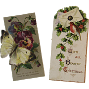 2 Victorian Embossed Christmas Card Book Marks Bookmarks Butterfly and Robin