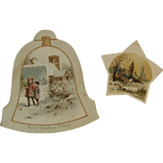 2 Victorian Christmas Cards Bell and Star Shaped